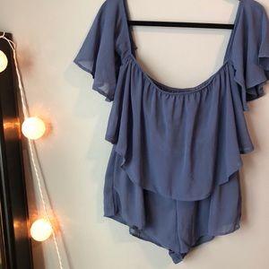 Dresses & Skirts - Off The Shoulder Boutique Blue Chiffon Romper